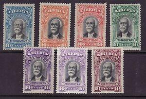 Liberia # F10-14 MINT With Color Varieties F11b & F13b 1903 Registration Set
