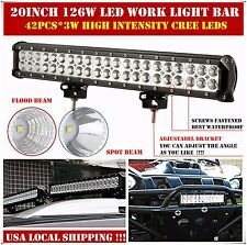 20 inch Cree Led Work Light Bar Flood Spot Combo Offroad 4WD ATV SUV Truck Boat