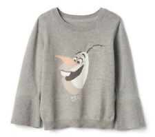 NWT babyGap Gap Girls Disney Baby Frozen Shimmer Bell Sweater GREY OLAF 3T 3 YRS