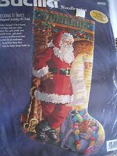 "Bucilla Christmas Needlepoint Stocking Kit,CHECKING IT TWICE,60766,Rossi,18"",NIP"