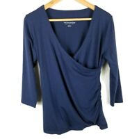 Soft Surroundings Shapely Surplice Top 3/4 Sleeve Solid Navy Blue Size Medium