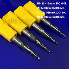 4pc R0.25-R1.0  HRC55 2F Taper Ball Nose Endmill CNC Router Bit Milling Cutter