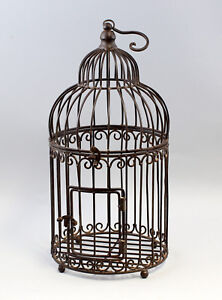 9977530 Metal Bird Cage Vintage Braun Rustic 24x55cm