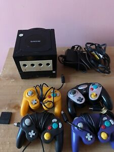 Nintendo GameCube Console - Black Tested 4 Controllers, Memory Card, GBA Player