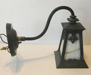 ANTIQUE CAST IRON SLAG GLASS EXTERIOR PORCH LIGHT