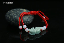 China hand knit red Rope Bracelet & carved Natural jade bead Pendant PIXIU