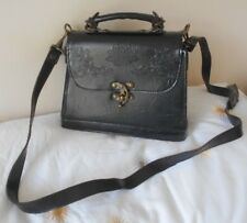 VINTAGE FRENCH BLACK LEATHER SHOULDER / TOTE BAG & POUCH!!!