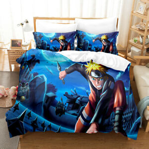 NARUTO0 3D Soft Bedding Set 3PCS Duvet Cover Pillowcases US Size Comforter Cover