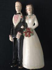 Vintage Handmade Multiracial Ceramic Bride & Groom Wedding Cake Topper Figurine