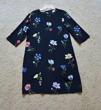 Equipment Aubrey Floral-Print Silk 3/4-Sleeve Shift Dress Size S