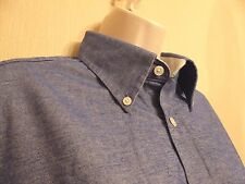 "Charles Tyrwhitt Weekend Medium (pit to pit 24"") blue cotton denim-look shirt"