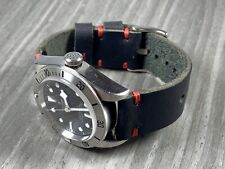 20mm BLACK Crazy Horse Vintage Top Grain Calfskin Leather Watch Strap RED stitch