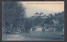 FRANCE 1920s PARK & CASTLE IN URIAGE LES BAINS POSTCARD TO SURREY ENGLAND