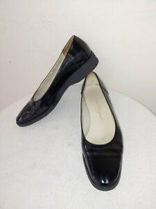 SALVATORE FERRAGAMO Black Patent Leather,Rubber Sole Women's Loafers,US Size9,5B