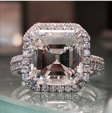 5.61ct Asscher Cut Diamond Halo Engagement Wedding Ring in 925 Sterling Silver