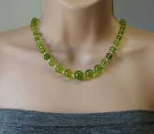 Green Crackle Quartz Graduated & Pearly White Seeds Beaded Summer Necklace