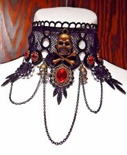 PIRATE QUEEN LACE CHOKER red bronze black collar skull gothic halloween new S4