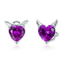 Silver Plated Stud Earrings Jewelry Fashion Purple Heart-Shaped Drop Dangle
