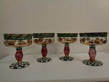 MacKenzie Childs Champagne/Sorbet Goblets 1991 Heirloom Circus Set Of 4