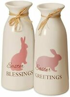 Set of 2 9 Inch White Easter Bottles with Easter Greetings Christmas Item