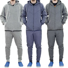 New Mens Track Suit Melange Style Hoodie Jogging Bottom Set Lined Hood Zipper