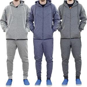 New Mens Track Suit Melange Style Hoodie Jogging Bottom Set Lined Hood Zipper