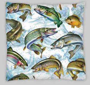 fresh water fish fishing  Linen  Cushion Cover 18 inch pike bass trout
