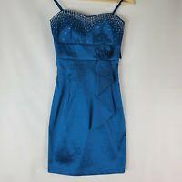 Sugar strapless little blue silk dress ruffle Party cocktail club Size M B98