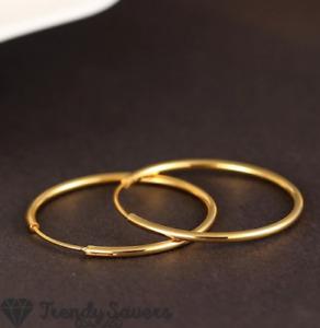 18K Gold Plated 925 Sterling Silver Post Large Endless Huggie Hoop Earrings 45MM