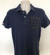 SUPERDRY BLUE POLO SHIRT TOP T SHIRT SIZE S SMALL MENS