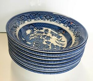 "8 Blue Willow Ware Dessert Bowls 6"" Made in England"