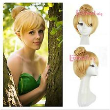 New Fairy Tinker Bell Princess  11.8'' Short Blonde Costume Anime Cosplay Wig