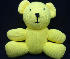 "Crochet Knit Teddy Bear Yellow Black Eyes Nose Plush 12"" Toy Handmade"