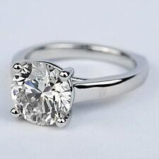 Solitaire Round Cut Diamond Engagement Ring 1.30 Carat VVS2/F White Gold