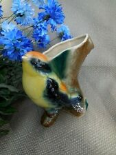 """Decorative Collectible 7"""" tall vintage bird vase collectible hand painted"""