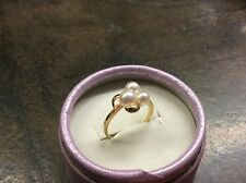 Lustrous Vintage MIKIMOTO Cluster PEARL & 18kt Yellow Gold Ring 6.5