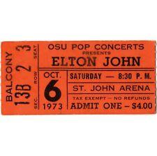 ELTON JOHN Concert Ticket Stub COLUMBUS OHIO 10/6/73 GOODBYE YELLOW BRICK ROAD