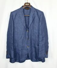 $2200 Loro Piana Blue 100% Linen Jacket Size EU 54 3 Button Unlined XL