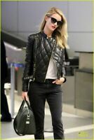 Women Rosie Huntington Whiteley Black Leather Quilted Jacket