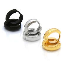 Men Lady Silver Gold Black 9mm x 3mm Hoop Huggie CURVED Earring Leverback 3 Pair