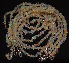 Rainbow Flashing Fire Ethiopian Welo Opal Uncut Beads Finished Necklace 18Inc.