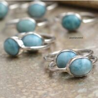Larimar Stone Ring 925 Sterling Silver Ring Band Ring Statement Ring Size