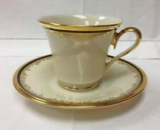 """LENOX """"ECLIPSE"""" TEACUP & SAUCER IVORY BONE CHINA NEW WITH STICKER MADE IN U.S.A."""