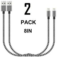 USB Short Lightning Cable Charger Iphone Charging Cables Data Sync Cord 2 PACK