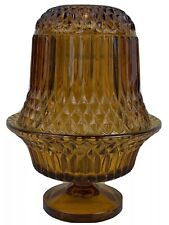 Hobnail Diamond Glass Amber Fairy Lamp Light Candle Holder 6.5""