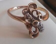 VINTAGE 10k YELLOW GOLD LADIES RING WITH DIAMONDS SIZE 7 ((73))