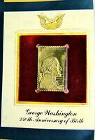 George Washington 250th Anniversary 22K Gold Replica of the Actual 20 cent Stamp