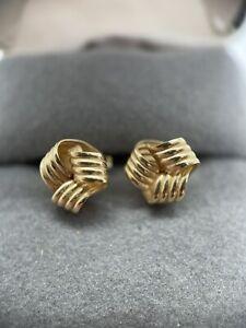 Vintage 14k Yellow Gold Twist Love Knot Design Earrings Pierced .75g