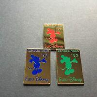 Euro Disney - Rendez-Vous '92 Red Blue Green Mickey Mouse Set 3 Disney Pin 7546