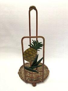 Pineapple Paper Towel Holder Stand Metal Wicker